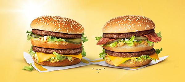 Big Macs met en zonder bacon
