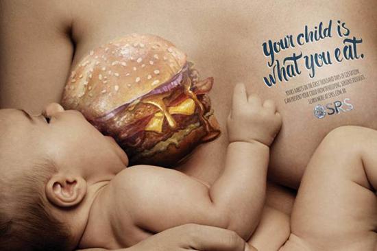 Fastfood advertentie baby
