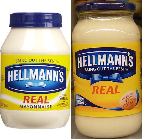 Hellmann's mayonaise oud (links) en nieuw (rechts)