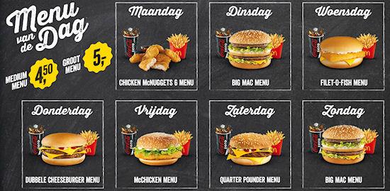 McDonald's Menu van de dag