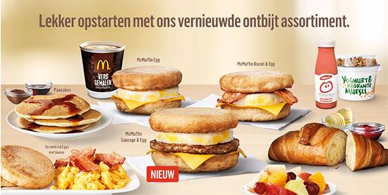 Ontbijtmenu McDonald's