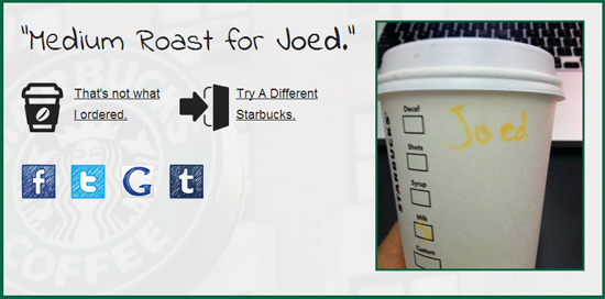 Starbucks order Joed